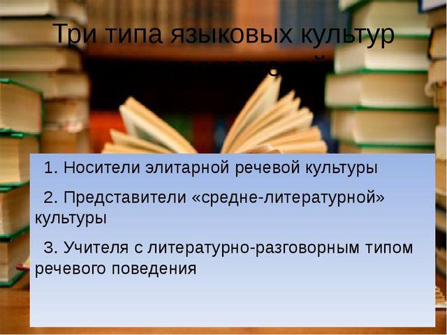 Три типа языковых культур преподавателей 1. Носители элитарной речевой культу...