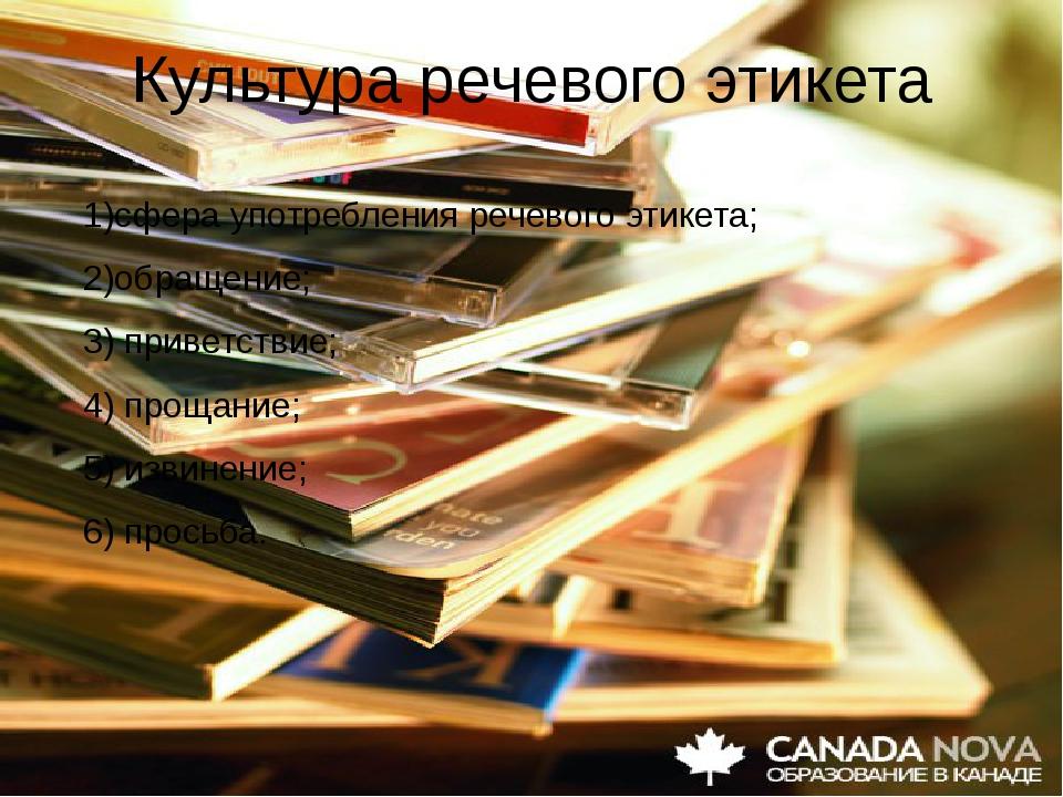 Культура речевого этикета 1)сфера употребления речевого этикета; 2)обращение;...