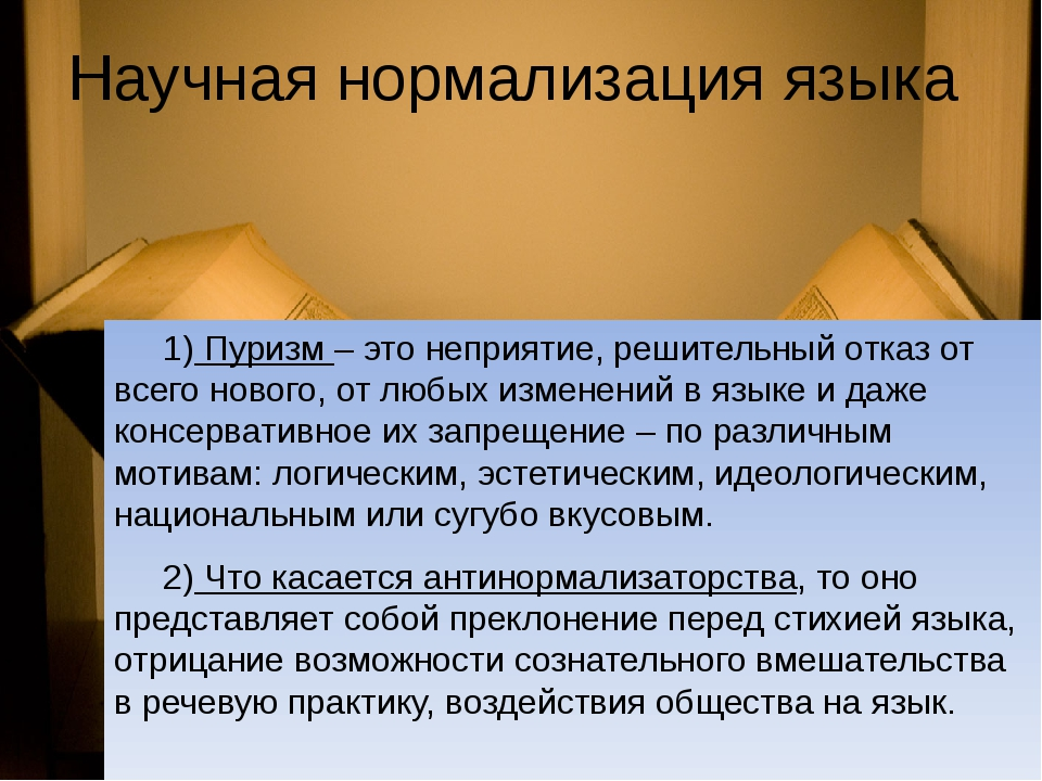Научная нормализация языка 1) Пуризм – это неприятие, решительный отказ от вс...