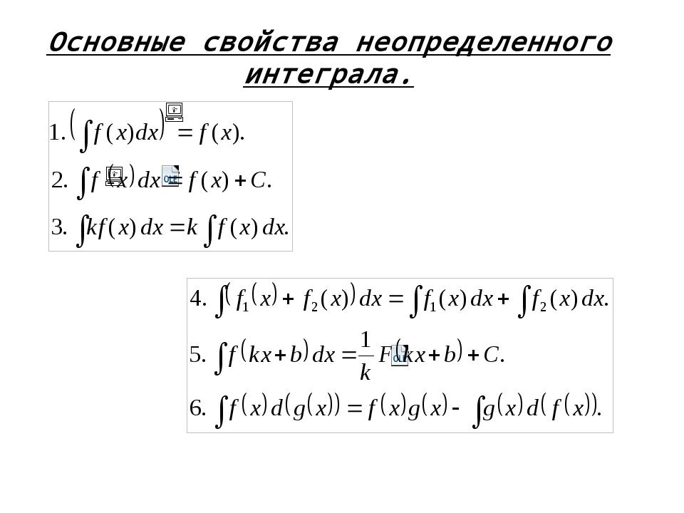 Основные свойства неопределенного интеграла.