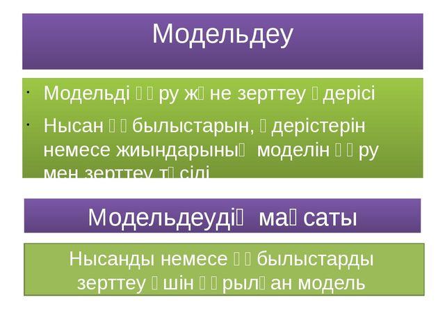 Модельдеу Модельді құру және зерттеу үдерісі Нысан құбылыстарын, үдерістерін...
