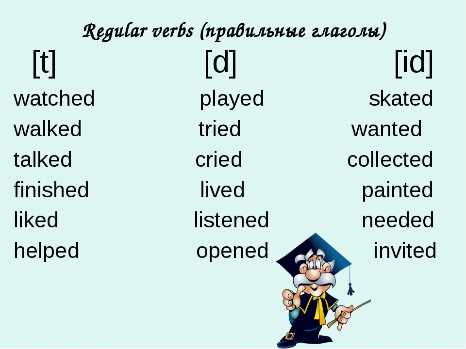 Regular verbs (правильные глаголы) [t] [d] [id] watched played skated walked...