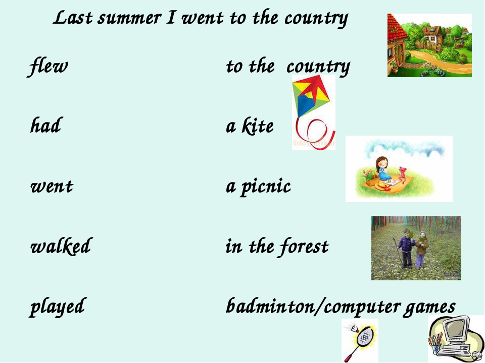 Last summer I went to the country flew had went walked played to the country...