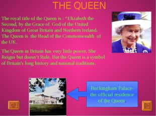 """THE QUEEN The royal title of the Queen is : """"Elizabeth the Second, by the Gra"""