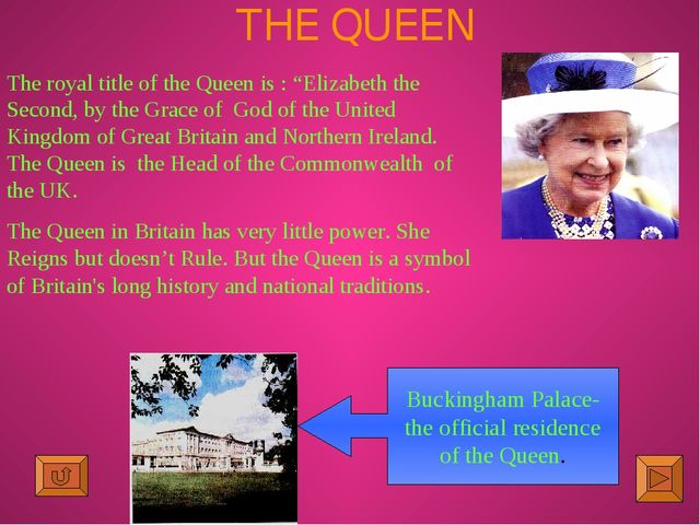 """THE QUEEN The royal title of the Queen is : """"Elizabeth the Second, by the Gra..."""