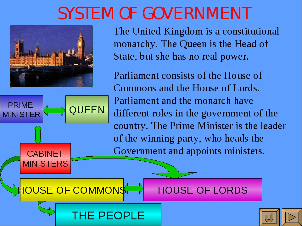 SYSTEM OF GOVERNMENT The United Kingdom is a constitutional monarchy. The Que...