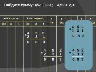 4 5 2 2 3 1 6 8 3 + 4 5 2 2 3 1 6 8 3 + Найдите сумму: 452 + 231; 4,52 + 2,3