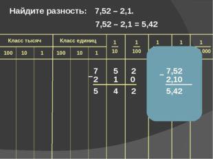 7 5 2 2 1 5 4 2 – Найдите разность: 7,52 – 2,1. 7,52 2,10 5,42 – 0 7,52 – 2,