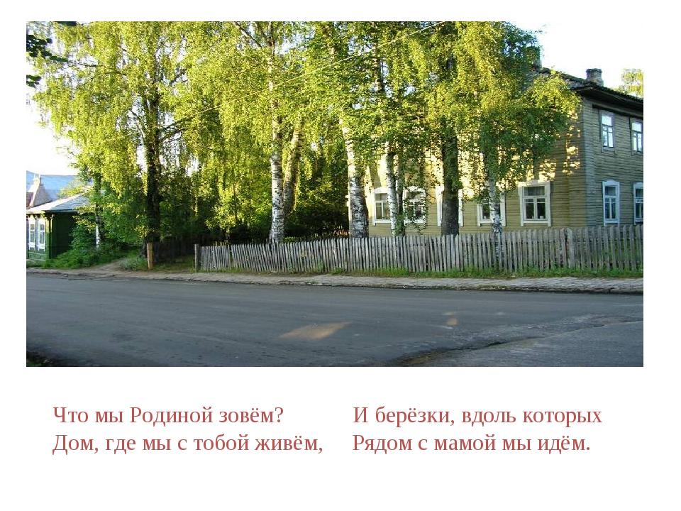 Что мы Родиной зовём? И берёзки, вдоль которых Дом, где мы с тобой живём, Ря...