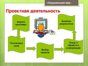 Проектная деятельность Анализ проблемы Выбор средств Анализы результатов Пост