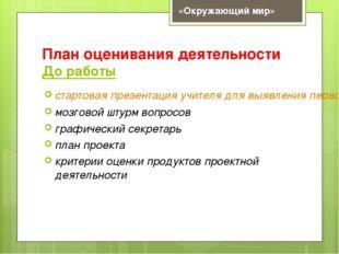 План оценивания деятельности До работы стартовая презентация учителя для выяв