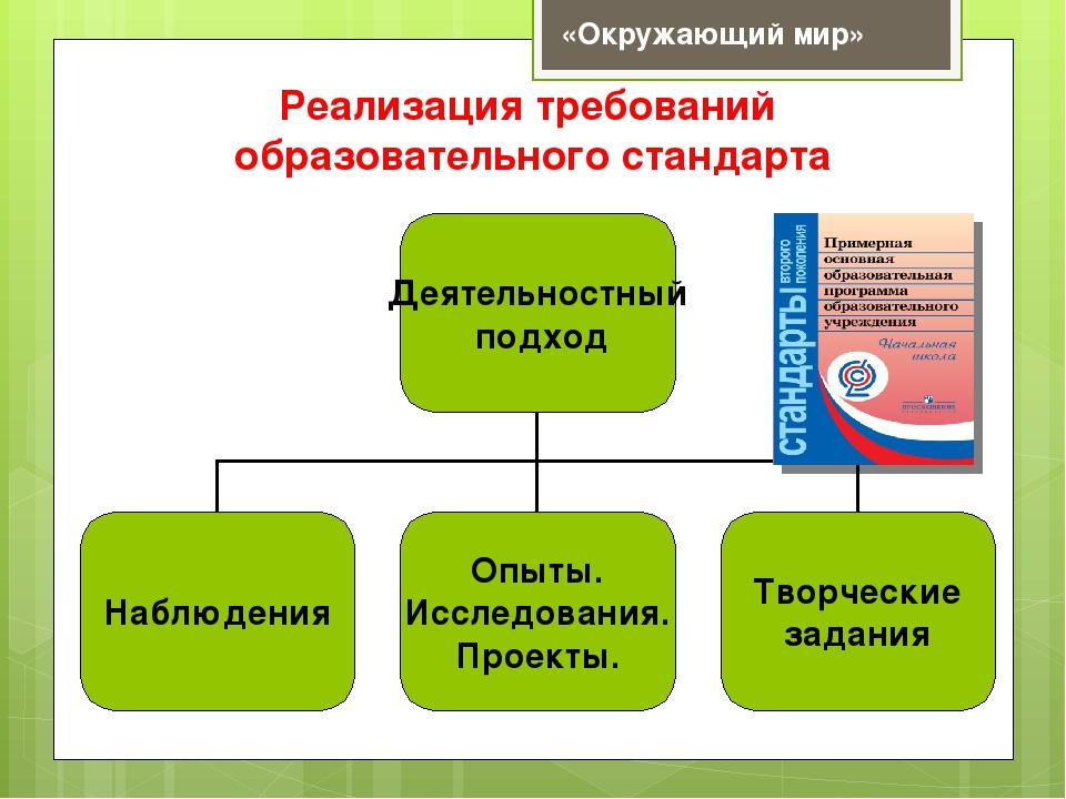 Реализация требований образовательного стандарта «Окружающий мир»