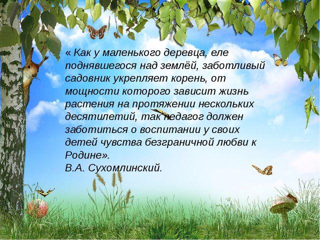 « Как у маленького деревца, еле поднявшегося над землёй, заботливый садовник...