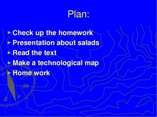 Plan: Check up the homework Presentation about salads Read the text Make a te