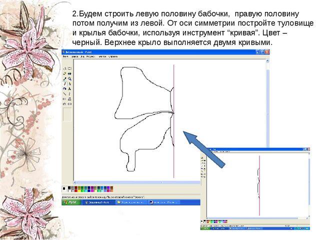 2.Будем строить левую половину бабочки, правую половину потом получим из ле...