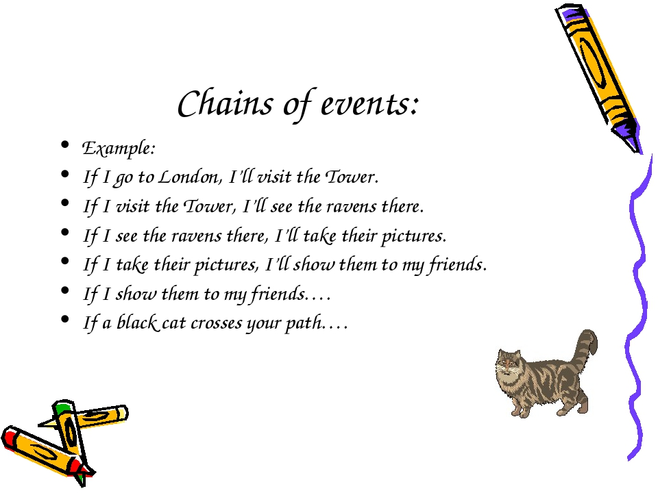 Chains of events: Example: If I go to London, I'll visit the Tower. If I visi...