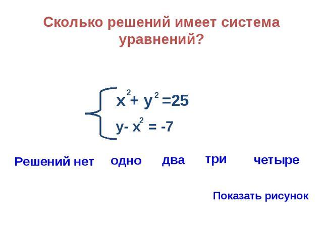 Сколько решений имеет система уравнений? х + у =25 2 2 у- х = -7 2 Решений не...
