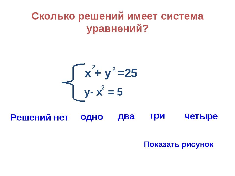 Сколько решений имеет система уравнений? х + у =25 2 2 у- х = 5 2 Решений нет...
