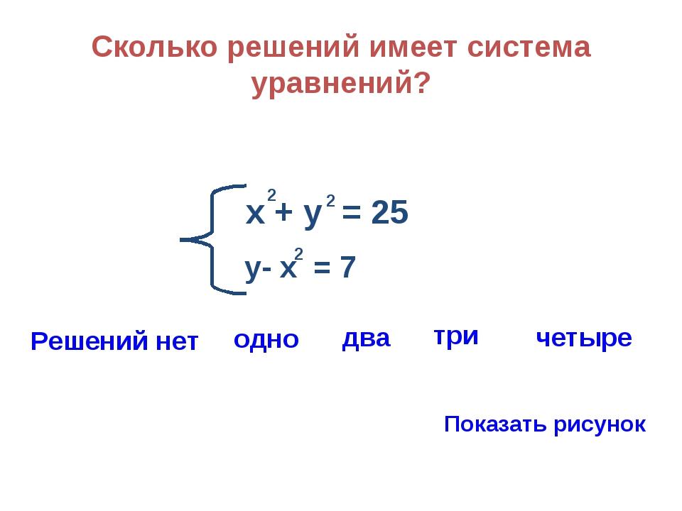 Сколько решений имеет система уравнений? х + у = 25 2 2 у- х = 7 2 Решений не...