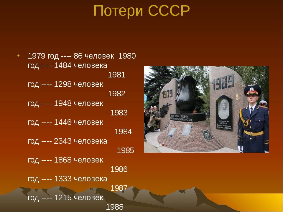 Потери СССР 1979 год ---- 86 человек 1980 год ---- 1484 человека 1981 год ---...