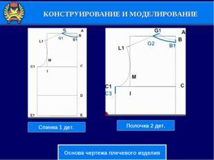 КОНСТРУИРОВАНИЕ И МОДЕЛИРОВАНИЕ Основа чертежа плечевого изделия Спинка 1 дет