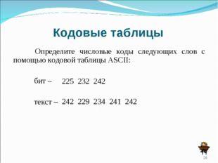 Кодовые таблицы Определите числовые коды следующих слов с помощью кодовой та
