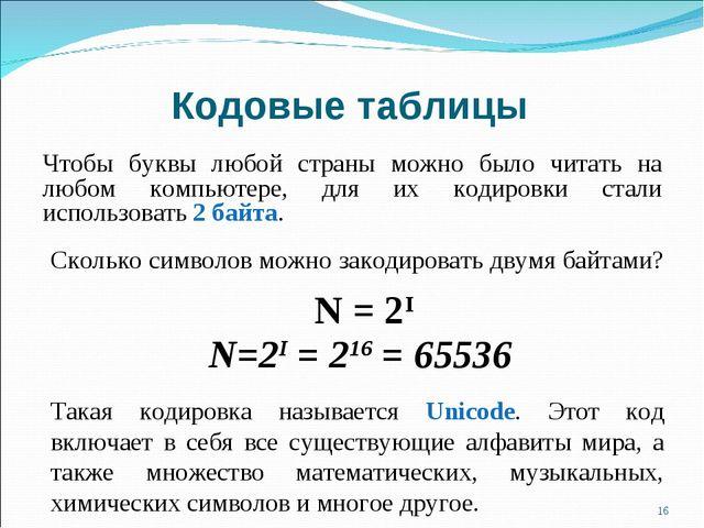 Кодовые таблицы Чтобы буквы любой страны можно было читать на любом компьютер...