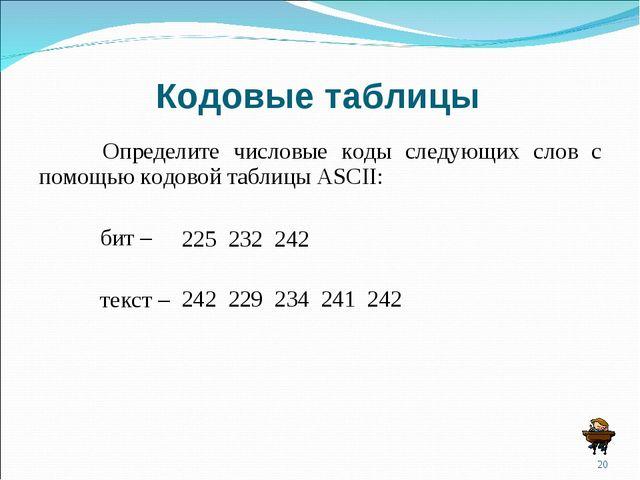 Кодовые таблицы Определите числовые коды следующих слов с помощью кодовой та...