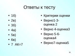 Ответы к тесту 1б) 2в) 3б) 4а) 5в) 6в) 7 АК=7 Критерии оценки Верно1-3- оценк