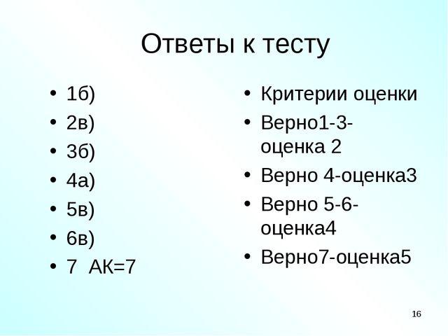 Ответы к тесту 1б) 2в) 3б) 4а) 5в) 6в) 7 АК=7 Критерии оценки Верно1-3- оценк...