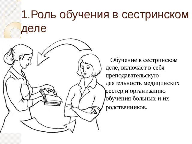 1.Роль обучения в сестринском деле Обучение в сестринском деле, включает в се...