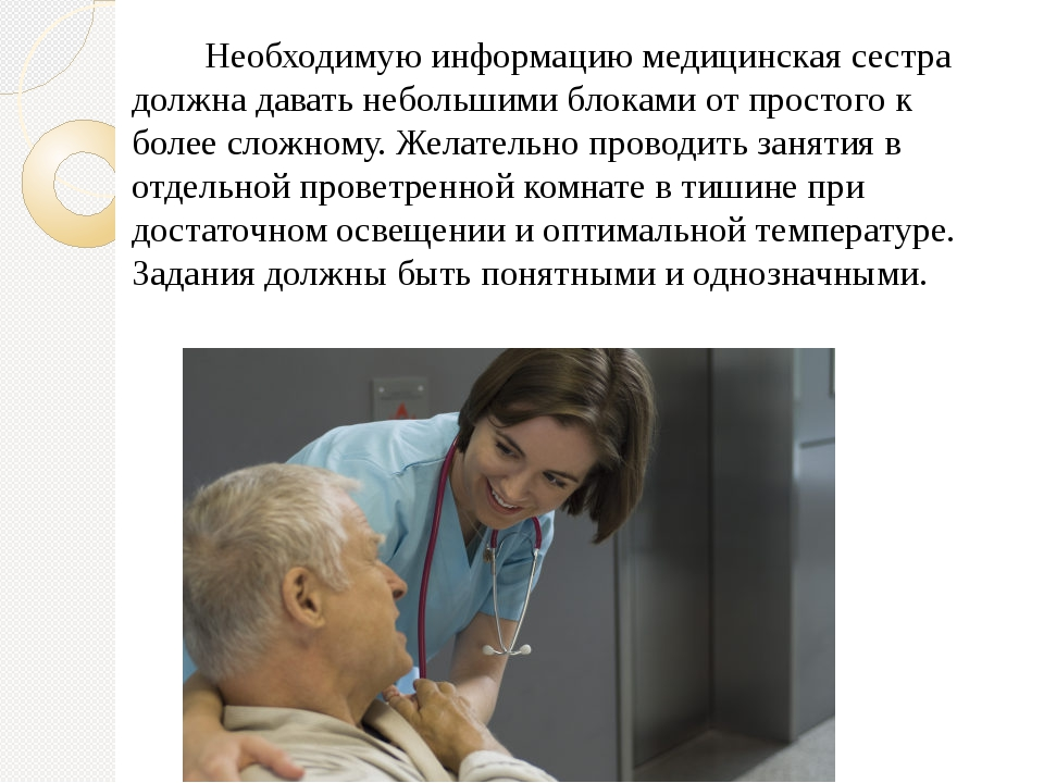 Необходимую информацию медицинская сестра должна давать небольшими блоками о...