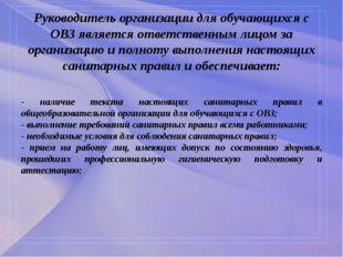 Руководитель организации для обучающихся с ОВЗ является ответственным лицом