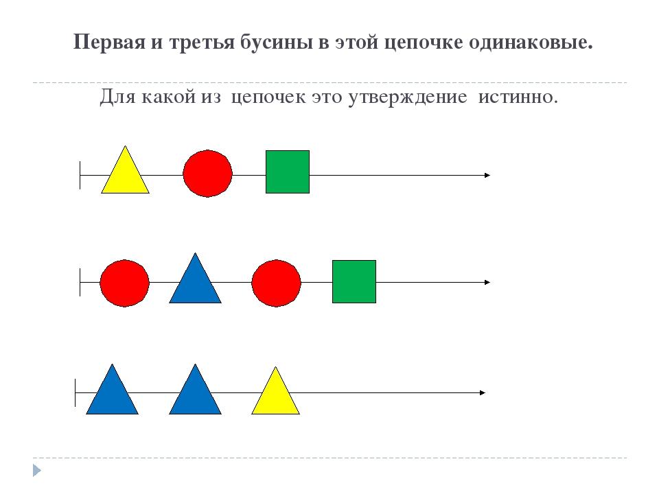 Первая и третья бусины в этой цепочке одинаковые. Для какой из цепочек это у...