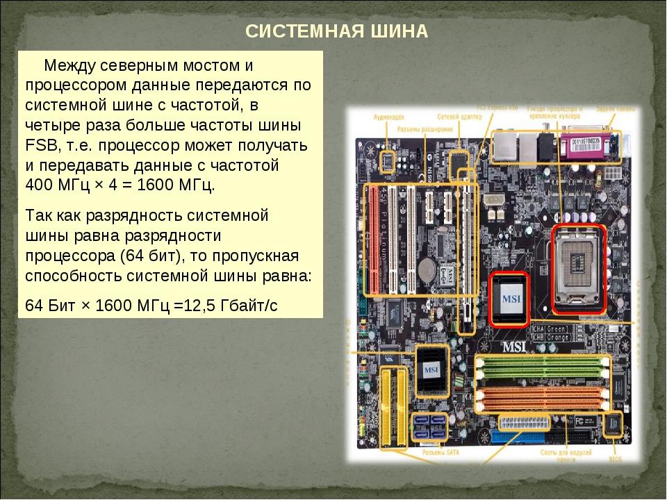 СИСТЕМНАЯ ШИНА Между северным мостом и процессором данные передаются по систе...