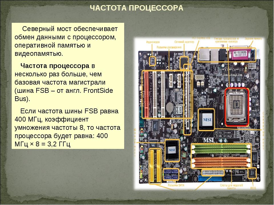 ЧАСТОТА ПРОЦЕССОРА Северный мост обеспечивает обмен данными с процессором, оп...