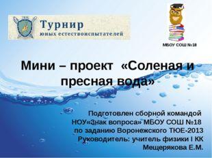 Мини – проект «Соленая и пресная вода» Подготовлен сборной командой НОУ«Знак