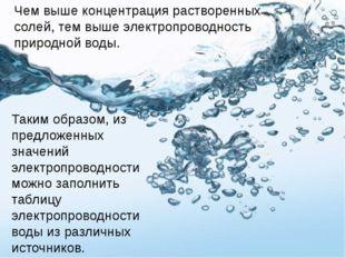 Чем выше концентрация растворенных солей, тем выше электропроводность природн