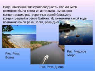 Вода, имеющая электропроводность 132 мкСм/см возможно была взята из источника