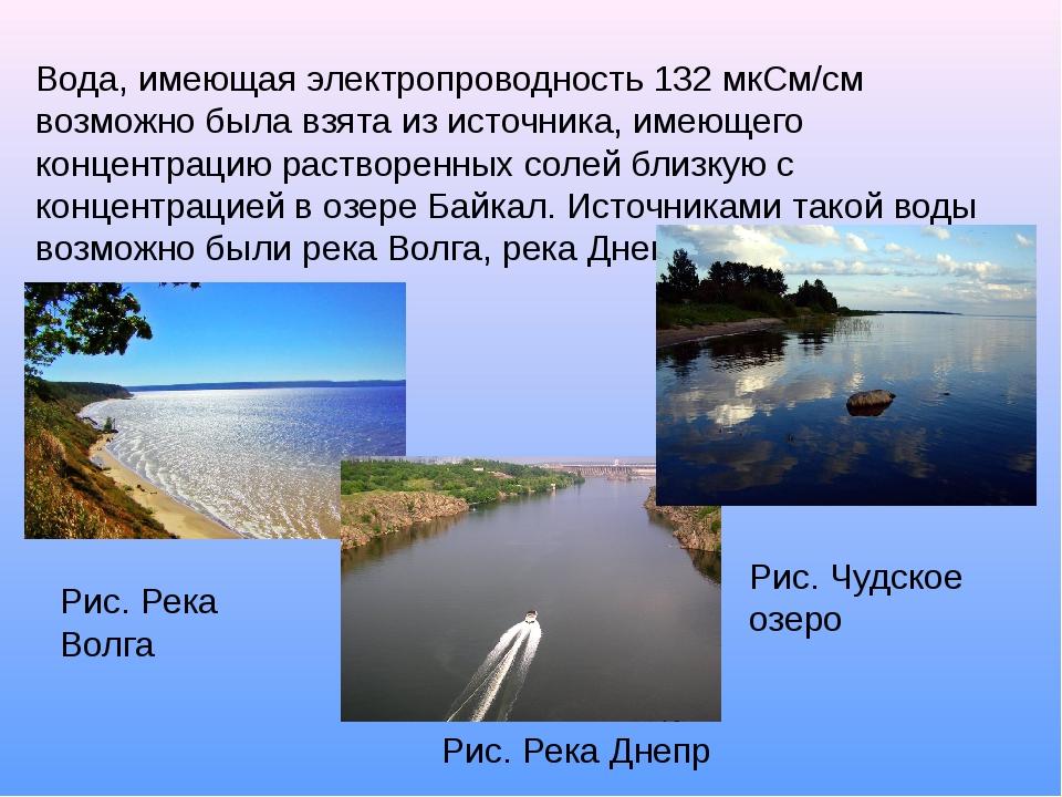 Вода, имеющая электропроводность 132 мкСм/см возможно была взята из источника...