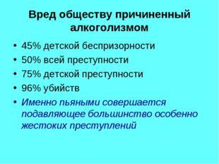 Вред обществу причиненный алкоголизмом 45% детской беспризорности 50% всей пр