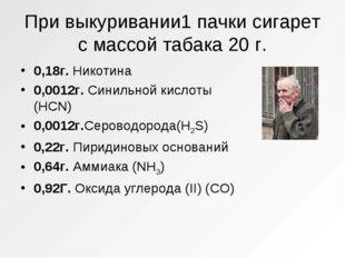 При выкуривании1 пачки сигарет с массой табака 20 г. 0,18г. Никотина 0,0012г.