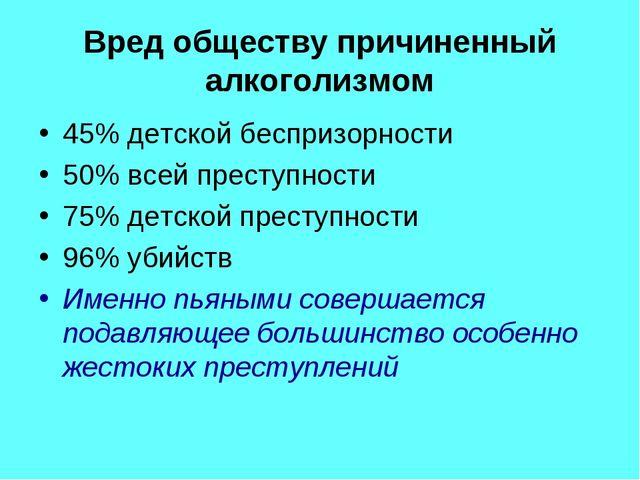 Вред обществу причиненный алкоголизмом 45% детской беспризорности 50% всей пр...