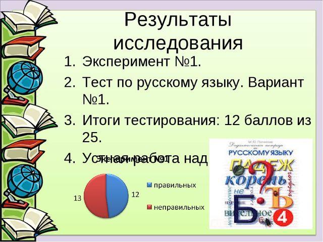 Результаты исследования Эксперимент №1. Тест по русскому языку. Вариант №1. И...