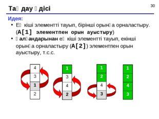 Таңдау әдісі Идея: Ең кіші элементті тауып, бірінші орынға орналастыру. (A[1]