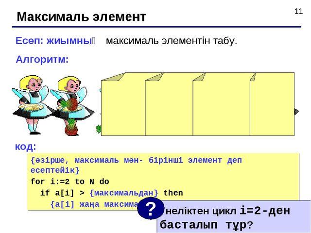 Максималь элемент Есеп: жиымның максималь элементін табу. Алгоритм: код: {әзі...