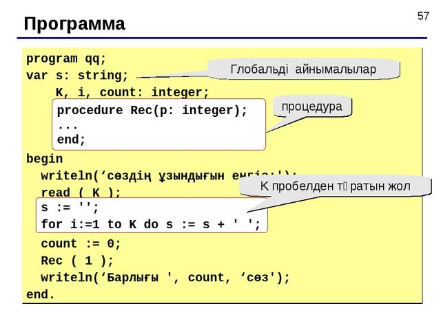 Программа program qq; var s: string; K, i, count: integer; begin writeln('сөз...