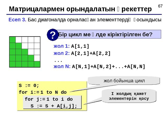 Матрицалармен орындалатын әрекеттер Есеп 3. Бас диагоналда орналасқан элемент...
