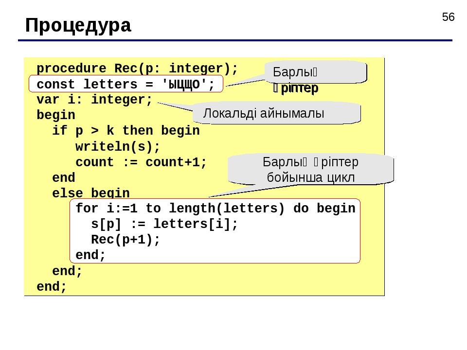 Процедура procedure Rec(p: integer); const letters = 'ЫЦЩО'; var i: integer;...