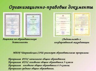 Организационно-правовые документы Лицензия на образовательную деятельность Св